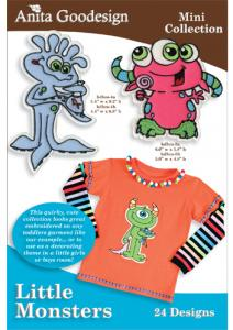 Anita Goodesign 93MAGHD Little Monster Multi-format Embroidery Design Pack on CD
