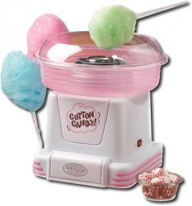 Nostalgia Electrics PCM-805 Party Time Cotton Candy Maker PCM805, 450W, Spin SugarFree Hard Color Candies to Fluffy, PlugIn TurnOn ClearBowl 2Cone 5Lb