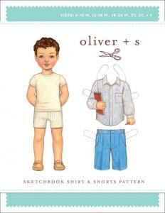 Oliver + S OS18  Sketchbook Shirt & Shorts 6 Months to 4 and 5 To 12 Pattern