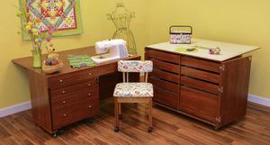 25445: Kangaroo II Cabinets Studio Set Teak +Joey Caddy, Dingo Cutting Table, Mat, Insert