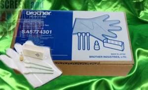 Brother, SB5687001, SA5774201, Cleaning, Solution, Kit, GT541, Garment, Printer, 1/2, oz, Bottle, 5cc, 50, sterile, swabs, rectangular, head, wiper, SA5774301, 501, Cap, Kit, gloves, white, cassette, box
