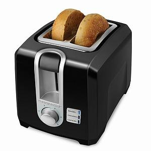 "Black & Decker T2569B 2 Slice Toaster, Black, Self Centering, Extra Wide Slots. Frozen, Bagel & Cancel Control Functions, Cord Storage, 13""x8.4""x9"""