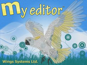Wings, MY EDITOR, Embroidery Software, Open, View, Designs, 3D, ThreadColors Size Rotate Edit, Merge, Array, Trim, Stop, NeedleUp, Save, Format, Export, Print, Email