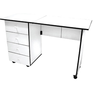 Sullivans, 12575, Portable, Sewing, Machine, 4, Drawer, Cabinet, Desk, WHITE, TABLE, SEWING, PORTABLe