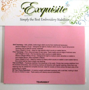 Exquisite, 21, Stabilizer, Samples, 8, Sheets, Tear, Away, Wash, Cut, No, Show, Adhesive, Specialties, FREE, Specified, Embroidery, Machines, Hoop, Perfect, Wet, N, stick, Heat, stay, Stitch, gone, Nylon, Mesh, Dream, Weave, Appli, Kay, Shape
