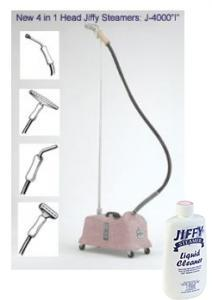 "Jiffy, PINK, Heavy, Duty, Model, J-4000i, Commercial, All, purpose, Steamer, Cleaner, with, 4, Changeable, Steam, Heads, 5.5, Foot, Hose, Attachment, FREE, Ship, Commercial, Fabric, J4000i, 1"", Brush, 6"", Metal, 9"", Pipe, 12"", Carpet, 1, Handle, 5.5', HOSE"