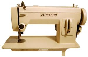 AlphaSew PW400 9x5Arm Straight Stitch Portable Walking Foot Sewing Machine, 16.5x7 Flatbed, 1/4 Welt Foot Lift, 4SPI, 150W 1.5A, Light, 900SPM 41Lb