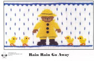 Cross-eyed Cricket  CEC212 Rain Rain Go Away Smocking Plate