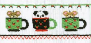 Cross-eyed Cricket  CEc157 Teddy Bear Tea Party Smocking Plate