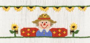 Cross-eyed Cricket  CEC140 Sunflower Scareflowers Smocking Plate