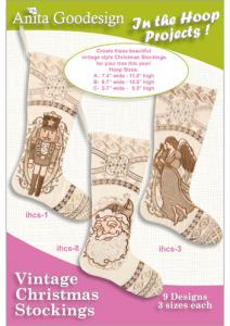 Anita Goodesign 29AGPJ Vintage Christmas Stockings Multi-format Embroidery Design Pack on CD
