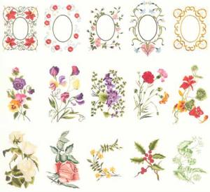 Husqvarna Viking 116 Flowers and Frames by Martha Pullen Embroidery Disk