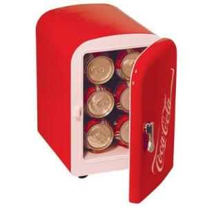 "Koolatron KWC-4 Coca-Cola Personal 6 Can, 4 Liters Mini Fridge 11x11x8"" Inch, Cools to 40 Degrees below room temperature - Keep your 6 pack Ice Cold!!"