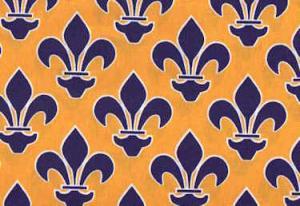 """Fleur De Lis Purple and Gold EQ60187 100% cotton pattern  45"""" Fabric"""