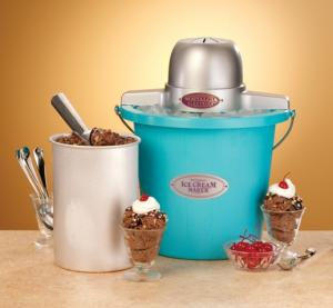 Nostalgia Electrics™ ICMP-400BLUE 4-Quart Plastic Bucket Ice Cream Maker, Blue