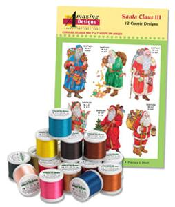 Amazing Designs ADBL-22JTK Santa Claus III Complete Collection Embroidery Designs with 18 Spools of Thread