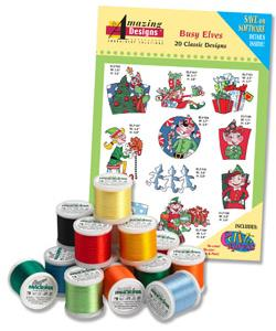 Amazing Design ADC-99TK Busy Elves Complete Collection Embroidery Designs with 18 Spools of Thread