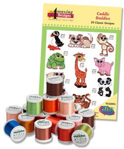 Amazing Design ADC-95TK Cuddle Buddies Complete Collection Embroidery Designs with 18 Spools of Thread
