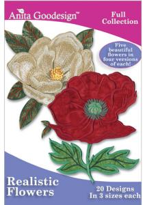Anita Goodesign 150AGHD Realistic Flowers Full Collection Multi-format Embroidery Design Pack on CD