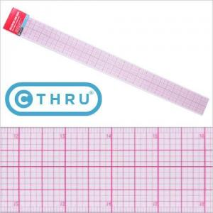 "PGM Pro 807A-A 24"" C-Thru Ruler, PGM 807A-A 2x24"" C-Thru Transparent Grid Laminate Ruler, Inch & Metric"