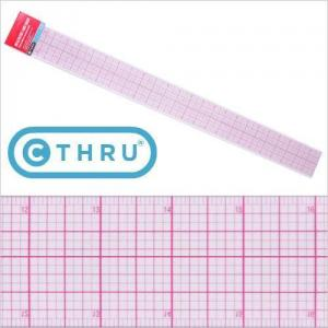 "PGM Pro 807B-A 18"" C-Thru Transparent Ruler 2x18"" Laminated Durability"