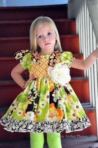 Juvie Moon Renee Button Square Yoke Dress Pattern Size 2T Mo to 12 Years