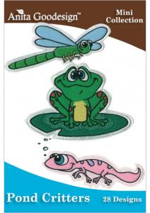 Anita Goodesign 103MAGHD Mini Pond Critters Mini Collection Multi-format Embroidery Design Pack on CD