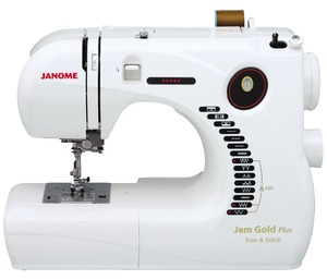 Janome Jem Gold Plus 661G Trim & Stitch 12-Stitch Lightweight Sewing Quilting Machine, Reverse, Buttonhole, 12Lbs,Threader, Cutter,  Handle, Drop Feed