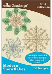 Anita Goodesign 105MAGHD Modern Snowflakes Embroidery Design Pack on CD, newdesign