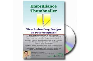 Embrilliance, Thumbnailer, Embroidery Software, for Macintosh, & Windows,. Create, View thumbnail images, for your embroidery, design files, and home formats*