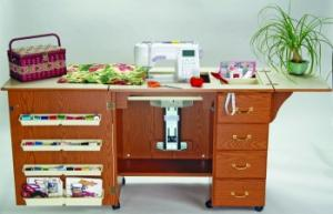 Arrow 98300DL RTA Oak 4 Drawer Air Lift Sewing Machine Cabinet on Casters with Insert for Your Brand/Model Machine
