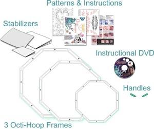 Octi-Hoops, octihoops, FREE MOTION CREATIVE FRAMES, 3 Creative Frames, CFHP-K1, Kit, DVD, S,M, L Sizes, Handles, Hand Guide, Free Motion, Embroidery, Quilting, Stipple, Applique, Darn, Cutwork, No Foot Req