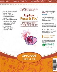OESD HBA20-10 Appliqué Fuse & Fix Cutaway Embroidery Stabilizer 20 Sheets of 8 x 10 Inches