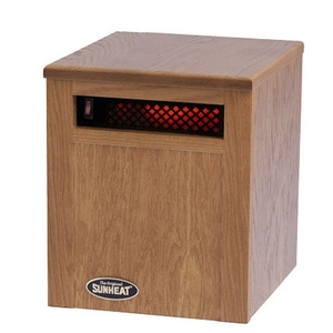 Sunheat SH-750 Space Heater, 250W Quartz Lamps, Solid Oak Cabinet, 27Lbsnohtin