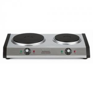 Waring DB60 Professional Countertop Burner - Stainless Steel Housing, 19.5x11.5x4, 1300W Large Plate/500W Small Plate