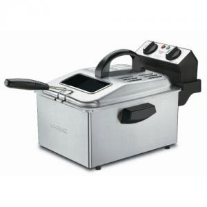 """Waring DF250B 1800W Pro Deep Fryer, 13x18x13"""", 2.5 Lb or 1 Gallon Capacity, Mesh Basket, Stainless Steel, 3' Cord, 30 Minute Timer, Cool Touch Handle"""