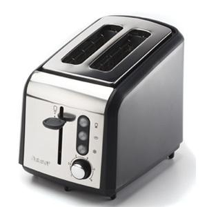 Aroma ATS-402 2-Slice Cool Touch Gourmet Series Classic Toaster, Matte Black Stainless Chrome, Extra Wide Slots, 6 Brown Settings, Cancel, Crumb Tray,