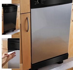 "Appliance Art Instant EZ Faux Stainless Steel SoftMetal Magnetic Film, Small, 18"" x 23.5"", easy to cut, can be trimmed to fit, clean easily with water"