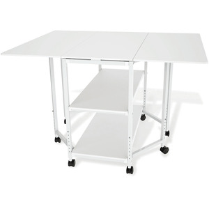 "WHITE, TRUE, CUT, CUTTING, TABLE, Grace, TC17019, Craft, Casters, 50x37""W, 32-38""H"
