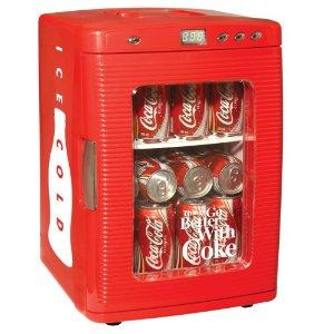 Koolatron KWC25 Coca Cola 28 x 12 Ounce Can Capacity Portable Fridge, LED Display, Countertop Refrigerator, Adjustable Temperatures, Recessed Handle