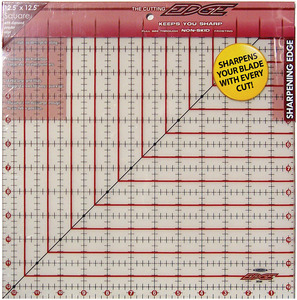 "Sullivans 38184 Cutting Edge 12.5"" x 12.5"" Square Gridded Ruler Sharpener, Diamond Carbide edge, keeps your rotary cutter blade sharpened as you work"