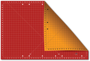 "RED/ORANGE-MAT 24X37 CUTNG EDGE, Sullivans 38217 Cutting Edge Mat 24x37"" Gridded Double Sided"