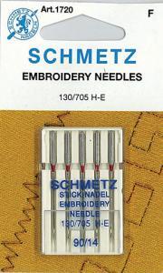 Schmetz S1720 Machine Embroidery Needles 5 Pack, Size 14/90, 130/705H-E, Large Eye