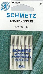 Schmetz S1730 Microtex Sharp Needles 5 Pack of Size 12/80 for Microfibers