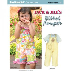 Jack And Jill PJJ  Jack & Jill Bibbed Romper Pattern Sizes 18m to 4T