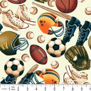 """Riley Blake Designs 15Yd Bolt 7.34 A Yd C2510 Cream PlayBall Main 100% Cotton  45""""Fabric"""
