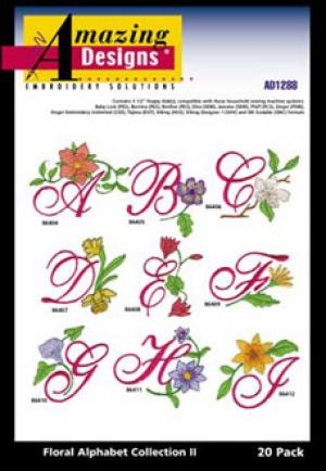 Amazing Designs 1288 Floral Alphabet II Embroidery Disk