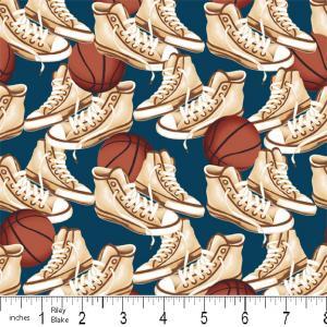 "Riley Blake Designs 15Yd Bolt 7.34 A Yd Blue PlayBall Sneakers 100% Cotton  45""Fabric"