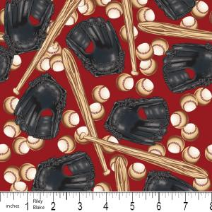 """Riley Blake Designs 15Yd Bolt 7.34 A Yd  C2512 Red PlayBall Baseball 100% Cotton  45""""Fabric"""