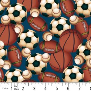 "Riley Blake Designs 15Yd Bolt 7.34 A Yd  C2514 Blue PlayBall 100% Cotton  45""Fabric"